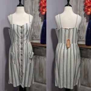 NWT Fat Face striped button-up midi dress, sz 10